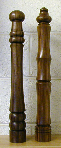 Two black walnut peppermills Click for larger image